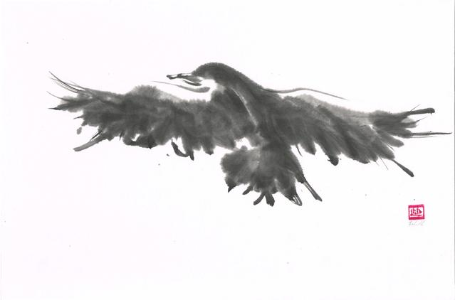 A sumi-e painting of black bird used to illustrate blog article which focuses remembering the way of creating.